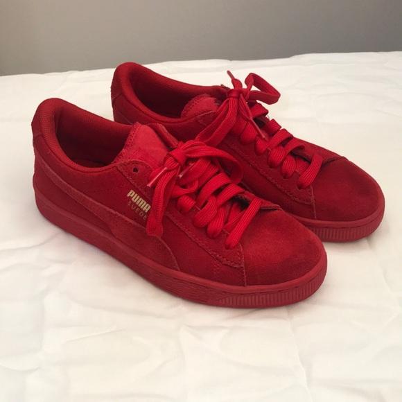 Puma Shoes   Kids Red Suede Pumas